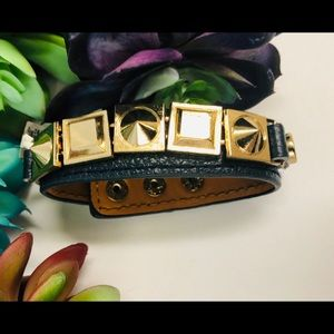 NWT adjustable navy & gold studded bracelet